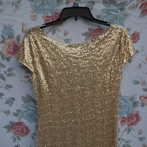 NWT Floor-Length Gold Sparkly Sequin Dress - M